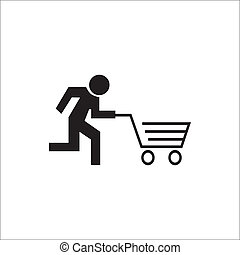 Running cart - Stick figure running with cart, like an...