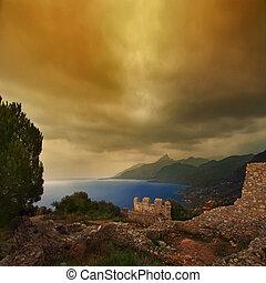 La Rocca Cefale - A paradise landscape in gold tones of...