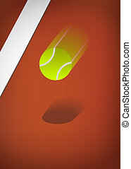 Tennis ball blurry - Tennis background, clay court with...