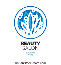 blue ball of leaves logo for beauty salon