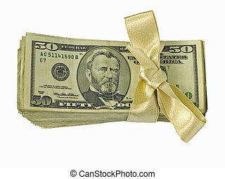 Money Bundles with Ribbon Flat 1 - Bundles of cash tied with...