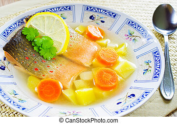Traditional russian fish soup