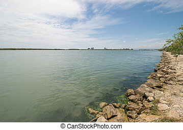 Ebro estuary at its delta in Tarragona, Spain