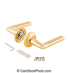 Door Knob assembly on White Background