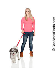 Attractive woman sticking out walking his dog isolated on...