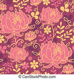 Red flowers and leaves seamless pattern background - Vector...