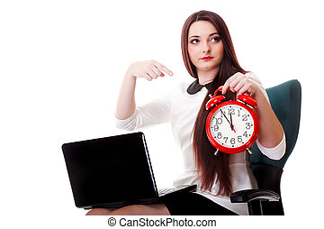 Woman with red clock. Time management concept. - Young...