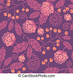 Purple flowers and berries seamless pattern background -...