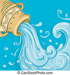 Aquarius - Illustration of Water coming out of Jar as...