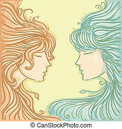 Gemini - Illustration of Twins for Gemini Design