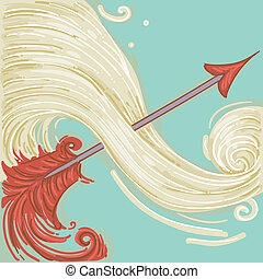 Sagittarius - Illustration of Red Arrow for Sagittarius...