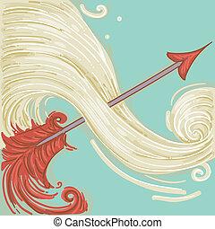 Sagittarius - Illustration of Red Arrow for Sagittarius...