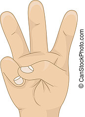 Kids Hand Showing Three Hand Count - Illustration of a Kids...