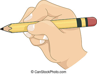 Kids Hand Holding a Pencil - Illustration of a Kids Hand...