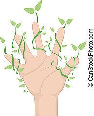 Hand with Leaf Vines