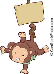 Monkey with Blank Wooden Board