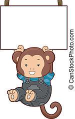 Monkey Hanging on Blank Board