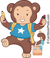 Monkey Carrying School Art Supplies - Illustration of Monkey...