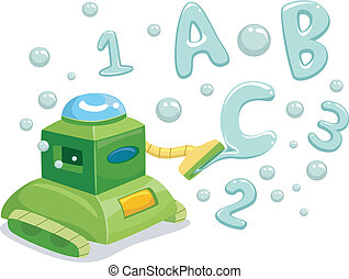 Robot Making 123 and ABC Bubbles