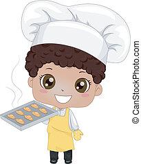 Little Boy Baking Bread - Illustration of a Cute Little Boy...