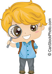 Little Boy holding a Magnifying Glass - Illustration of Cute...