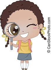 Little Girl holding Magnifying Glass 2