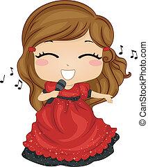 Little Girl Singing - Illustration of Little Girl Singing in...