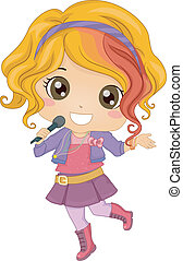 Little Girl Pop Star - Illustration of Little Girl Pop Star...