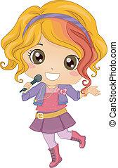 Little Girl Pop Star - Illustration of Little Girl Pop Star...
