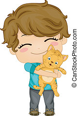 Little Boy with Pet Cat - Illustration of Little Boy...