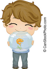 Little Boy with Pet Fish