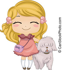 Little Girl with Pet Dog - Illustration of a Little Girl...