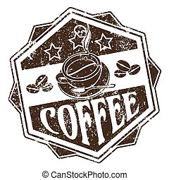 Coffee stamp - Vector image of Rubber stamp of brown color...
