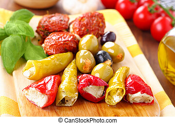 Antipasti - Mixed antipasti plate. Tomatoes, olives and...