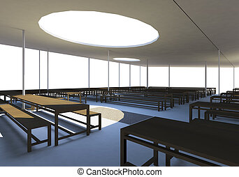 moderne, cantine, bois, chaises, Tables
