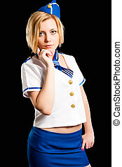 Young beautiful air hostess - Attractive young playful...