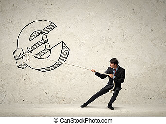 Businessman pulling rope - Image of young businessman...