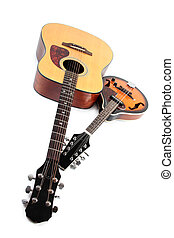 Mandolin and acoustic guitar - Color photo of a mandolin and...