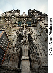 Gothic medieval St. Peter's Cathedral (Regensburg, Germany)....