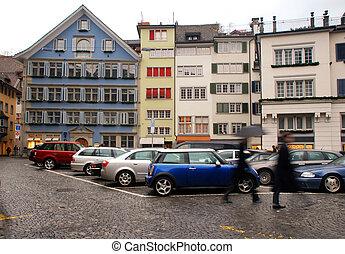 Zurich, Switzerland - Cityscape of Münsterhof street in the...