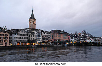Zurich and the Limmat River in twilight, Switzerland -...