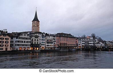 Zurich and the Limmat River in twilight, Switzerland -...