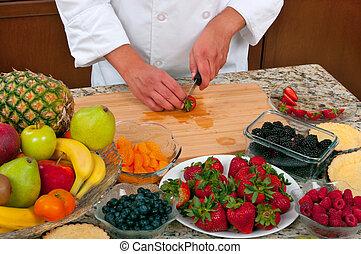 Fruit Tart - Chef making fruit tarts