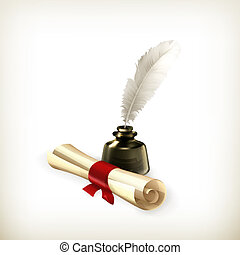 Ancient scroll and feather, vector
