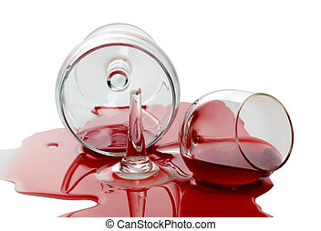 Spilled wine glass - Color photo of broken glass and spilled...