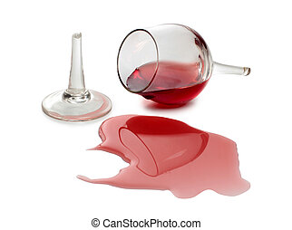 Splashes wine - Color photo of broken glass and spilled wine