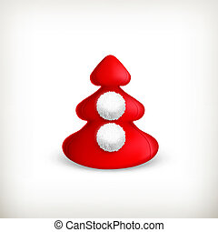 Christmas tree, red vector