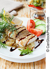 roast fillet lemon sole with onion and vegetables, food...