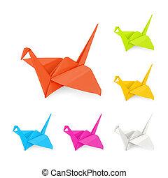 Origami cranes, vector