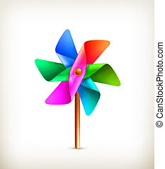 Pinwheel toy multicolor, vector